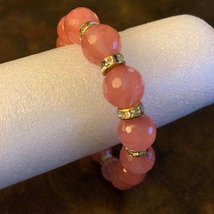 Rose quartz stretch bead bracelet new